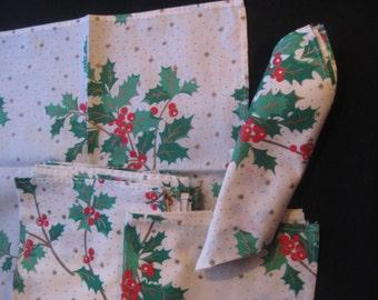 Vintage Holly Berry Napkins 12 Handmade