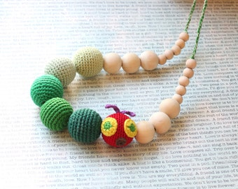 Green Caterpillar - nursing necklace - Teething necklace, teething toy - Baby shower gift - breastfeeding necklace - crochet caterpillar