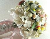 Wedding Button Bouquet, Felt Hydrangea Bouquet, Felt Button Bouquet