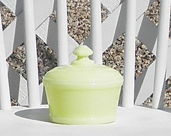 Vintage Milk Glass Vaseline Candy Dish with Lid Pale Yellow Vanity Butter Dish Jewelry