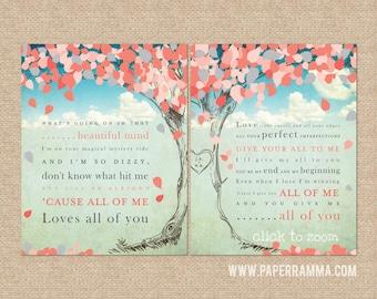 All of Me, John Legend Lyric Print / Personalized Keepsake // wedding / anniversary // Canvas or Art Print Set // W-L17-2PS HH4