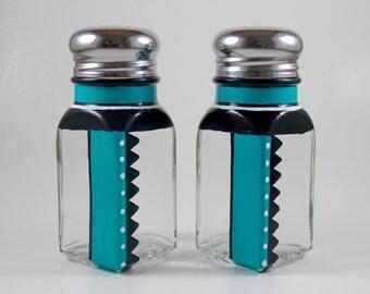 Salt & Pepper Shaker Set, Teal, Black, White, Hand Painted