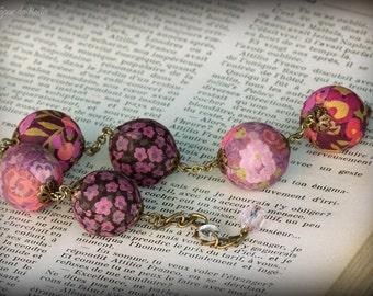 Adjustable purple and pink liberty textile bracelet, Textile bracelet, Fabric bracelet, Liberty bracelet, Liberty beads, Liberty jewelry