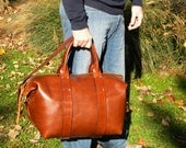 The Classic Duffel, medium sized handmade leather bag,  made in usa