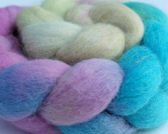 "Alpaca-Angora Top / Roving -  2 oz braid handpainted colorway ""His High & Mighty Prince Tiddly-Push"" Gradient"