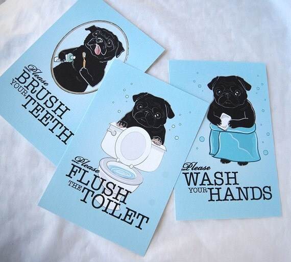 Black Pug Bathroom Prints 4x6 Eco-friendly Set