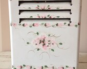 Vintage Repurposed White Enamelware Kenmore Space Heater - Hand Painted Pink Roses - Antique Decor