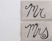 Cotton Kitchen Towel - Wedding Engagement towels - Mrs and Mrs. design - Choose your ink color