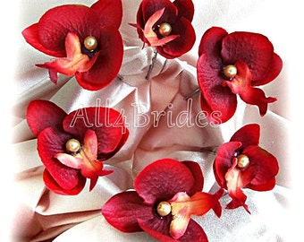 Burgundy red orchid hair flowers, bridal or bridesmaids orchid hair pins, set of six.