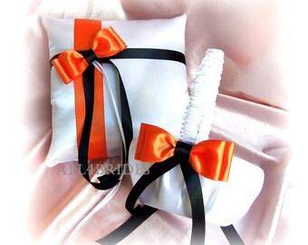 Orange and Black Weddings Flower Girl Basket  and Ring Bearer Pillow