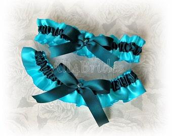Turquoise and Teal wedding bridal satin garter set, something blue bridal accessories, keepsake and toss garters