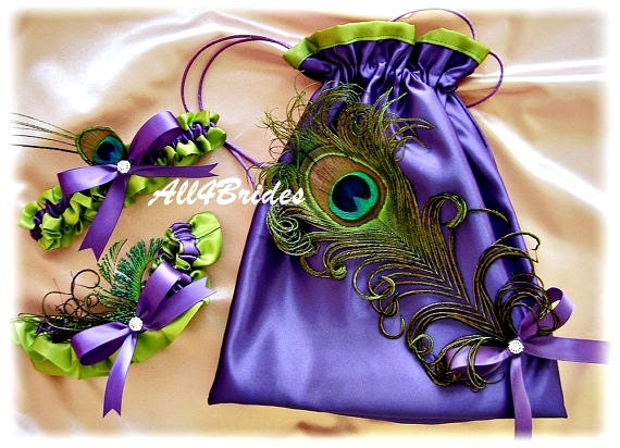 Purple and lime green peacock weddings bridal garters and drawstring bag, wedding dance bag, peacock feathers