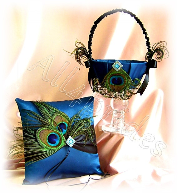 Peacock blue wedding ring pillow and flower girl basket, peacock feathers wedding accessories