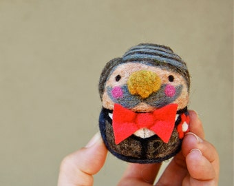 Moustached Jolly Fine Fellow Needle Felted Egg Doll Ready to Ship