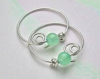Sterling Hoop Earrings, Small Round Green Chalcedony Silver Hoops, Chrysoprase 4mm Gemstone Hoops, Original Locking Design / gift under 40