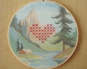 Cross-Stitch Embroidered Heart on Forest Paint by Number Fabric Hoop