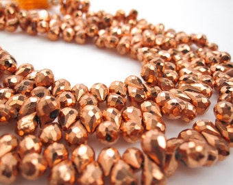 Faceted Pyrite Beads, Copper Pyrite Beads Briolettes, Faceted Teardrops, SKU 3535