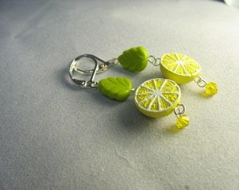 lemon earrings ... juicy fresh squeezed little lemon bead earrings with glass leaves
