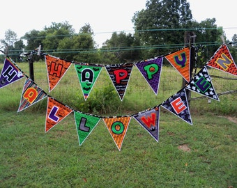 Happy Halloween Banner Bunting Halloween Garland Housewares Holidays