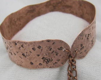 Copper Textured Cuff. Copper Stamped Bangle. Adjustable Bracelet.