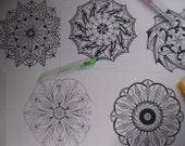 Instant Download Mandala Coloring Pages - 5 Printable Designs  - Set 12