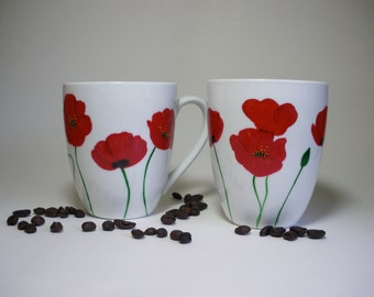 Functional Ceramic Coffee Cup Hand painted Red Poppies - set of 2