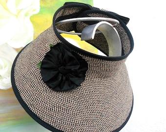 STYLISH TRAVEL SUN Visor...SunHat---Cruise Visor--- Sun Visor-- Black/Tan Color....
