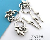 Pewter Leaf Toggle Antiqued Pewter Leaf Clasp 18mm x 23mm (PWT 368) 3 sets BlueEchoBeads