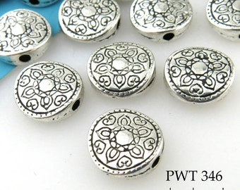 10mm Pewter Disk Bead Flower Disk (PWT 346) 15 pcs BlueEchoBeads