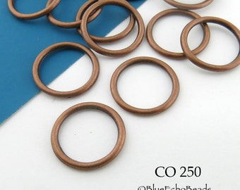 16mm Antique Copper Jump Ring Connector Closed Large (CO 250) 20 pcs BlueEchoBeads