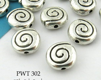 9 mm Pewter Spiral Beads Antique Silver (PWT 302) 12 pcs BlueEchoBeads