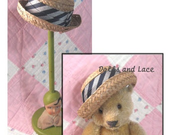Miniature Vintage Straw Hat for Teddy Bear or Doll