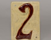 "4x6"" ceramic house number tile.  Hand made with relief number and screw holes in the corners for hanging"