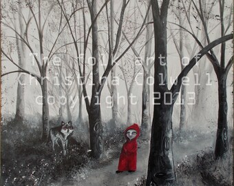 "Red Riding Hood and Wolf in Woods Instant Download 12"" X 12""  printable art from original mixed media contemporary raw folk art"