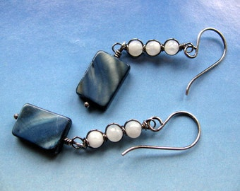 Moonstone and Shell Earrings, Wire Wrapped Sterling Silver, Long Dangle Blue and White Earrings, Handmade Jewelry