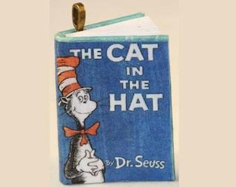 Items similar to rebecca mini book pendant rebecca for Cat in the hat jewelry