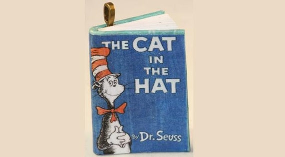 Items similar to the cat in the hat mini book pendant for Cat in the hat jewelry