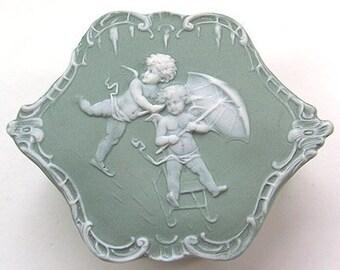 Schafer Vater Jasperware Trinket Box Cameo Cherubs Bisque Porcelain