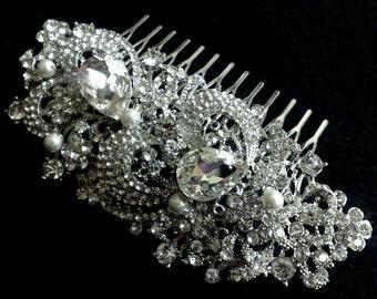 Statement Wedding Headpiece, Bridal Hair Jewelry, Bridal Hair Comb, Flower Bridal Headpiece, Swarovski Crystal Wedding Hair Comb, GEORGIA