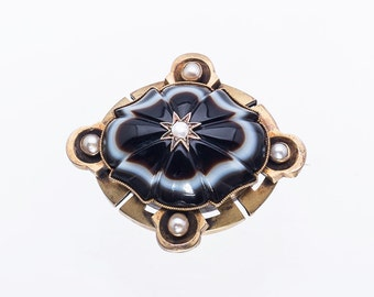 Antique Banded Onyx 14k Gold Brooch - Victorian Mourning Pendant with Pearls - Carved Agate