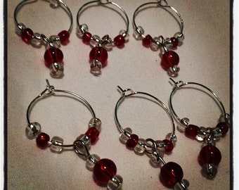 Set of 6 Red and Silver Beaded Wine Glass Charms