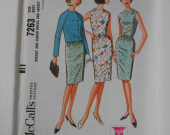 McCalls 7263 Vintage 60s Sleeveless Dress with Jacket Pattern Size 14 Bust 34  UNCUT