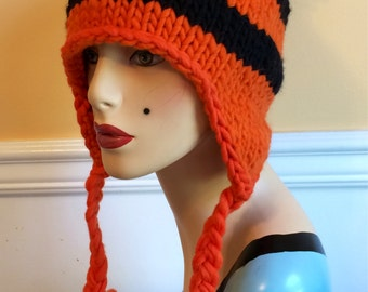 Orange Earflap Hat - Black & Orange Hat - Earflap Hat - Knit Hat - Wool Hat - Orange Wool Hat - Hat - Striped Hat