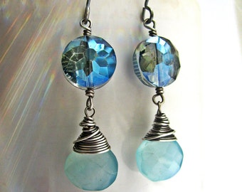 Baby Blue Chalcedony and Sparkly Metallic Blue Faceted Coinc