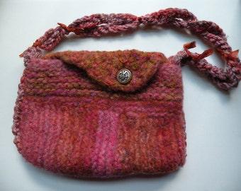 Shoulder bag, felt purse handbag, medium felted wool, pink rose gold terracotta Bohemian bag rustic hippie boho Life's an Expedition i899