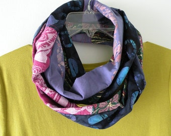Women's scarf, long infinity woven fashion, India batik horse Chinese Asian Bohemian purple blue pink green circle loop cotton Lhasa i476