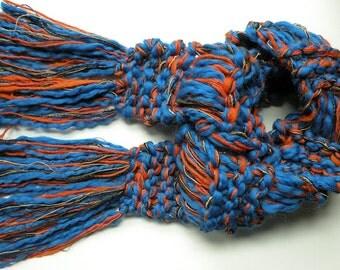 Scarf, University of Illinois Syracuse Denver Chicago New York Detroit orange blue football teams hand knit U of I wool crochet i627