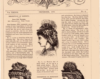December 1873 Frank Leslie's Lady's Magazine Front Page Ladies Fashions BONNETS Engravings Illustrations of Hats
