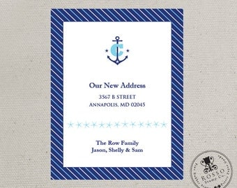 Change of Address Card, We've Moved, New Home, Anchor Invitation or Announcement (Set of 10)