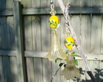 Handemade Yellow Lucite Flower Hand Painted Bead Earrings
